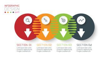 Vier harmonische Kreis Infografiken.