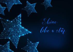 Leuchtende Sterne aus Linien, Punkten, Dreiecken und Text