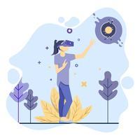 Frauen spielen virtuelle Realität und machen neue Welt vektor