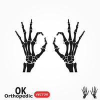 OK orthopädisch. Menschliche Hand des Röntgenstrahls mit OKAYzeichen.