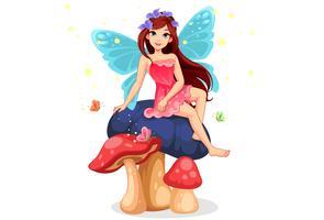 söt liten fe sitter på svampen