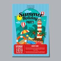 Sommerferien Party Plakat Vorlage Leuchtturm Strand Thema vektor