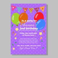 party födelsedag inbjudan mall med platt stil