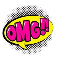 Komische Spracheblase mit Ausdrucktext OMG. Vector helle dynamische Karikaturillustration in der Retro- Pop-Arten-Art