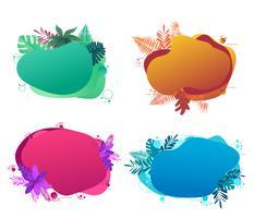 Banderollmalldesign, med flytande abstrakt geometrisk bubbla med tropiska blommor.