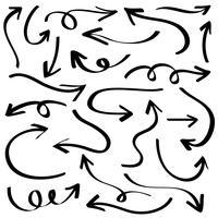 Illustration der Schmutz-Skizze handgemacht. Vektorpfeil-Satz.
