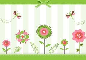 Grön blommig hälsningskort vektor