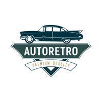 Retro billogo malldesign, vintage logotyp stil.