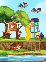 Grupp av superhjälte på lekplatsen vektor