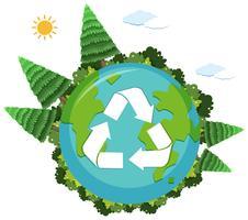 Ein Recycling-Logo auf der Naturkugel vektor