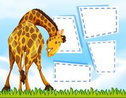 Giraffe auf Notizvorlage vektor