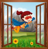 Kvinna superhero som flyger på fönstret