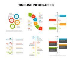 Zeitachse infographics Design stellte mit flacher Art, Arbeitsfluss oder Prozessdiagramm, Flussdiagramm, Vektorillustration ein