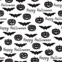 Halloween sömlöst mönster. Semester bakgrund med fladdermöss, pumpa