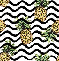 Abstrakt våg sömlöst mönster med ananas. Tropisk mat stripe konsistens