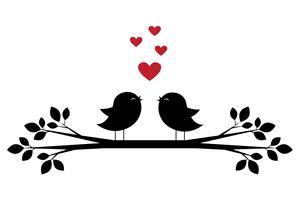 Silhuetter av söta fåglar sjunger och röda hjärtan