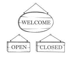 Willkommen, offener, geschlossener Plankenzeichensatz. Hölzernes Schild des Weinlesegekritzels