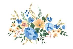Blomramrammönster. Blomma bukett bakgrund. Hälsningskort d