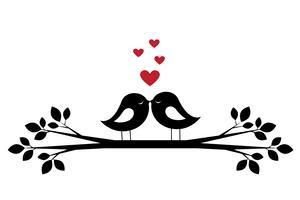 Silhouettiert netten Vogelkuss und rote Herzen