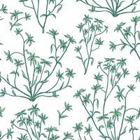 Blomblad lämnar sömlöst mönster. Vild naturbakgrund. Blomdra tapeter med växter.
