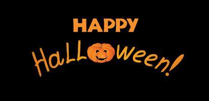 Lyckligt halloween hälsningskort. Semester bakgrund med bokstäver