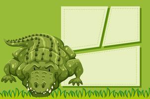 Krokodil auf Notizvorlage vektor