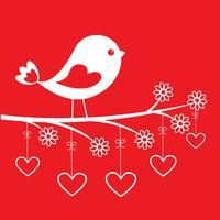 Gullig fågel - snyggt kort för Alla hjärtans dag