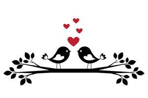 Silhuett söta fåglar i kärlek