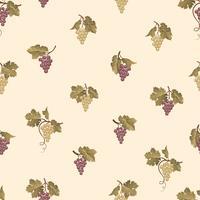 Grapefront sömlöst mönster. Vingård naturlig frukt prydnad. Mat bakgrund. vektor