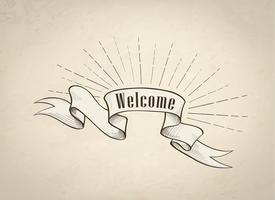 Willkommensschild über Band, Retro- Hintergrund. Vintage Doodle Banner vektor
