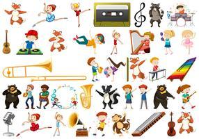 Sats av musikinstrument vektor