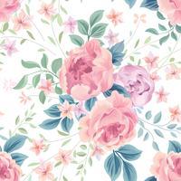 Blommigt sömlöst mönster. Blomma ros vit bakgrund. Blomdra tapeter med blommor.