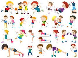 Satz Sportkinder