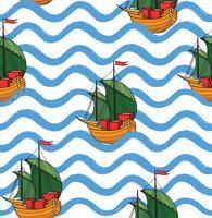 Nahtloses Muster des Meereswogen mit Anker. Stilvolles Meerwasser ba vektor
