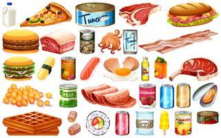 Reihe von verschiedenen Lebensmitteln vektor