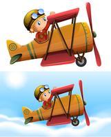 Set av pilot som kör klassiskt plan vektor
