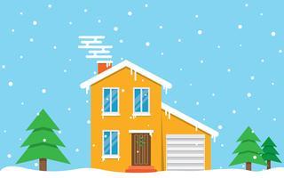 Vinterhus. dag. Familj förorts hem vektor