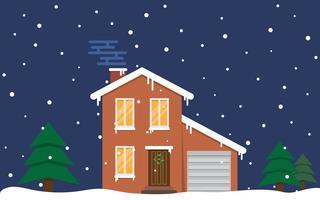 Vinterhus. Natt. Familj förorts hem vektor