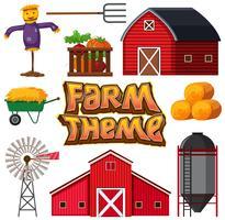 Set av jordbrukselement vektor