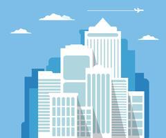 Stadtbild Wolkenkratzer auf blauem Hintergrund