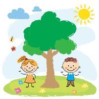 Pojke och flicka nära stort träd