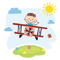 Junge fliegt über ein Feld vektor