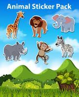 Set med vild djurklistermärke vektor