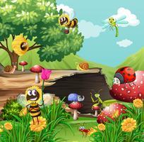 Många insekter i trädgården vektor
