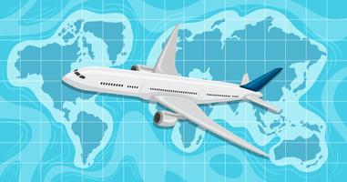 Ein Flugzeug, das über Weltkarte fliegt vektor