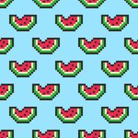 Pixelkunstwassermelone schneidet nahtloses Muster vektor