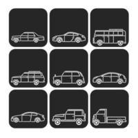 Umrissene Auto-Vektor-Ikonen-Satz