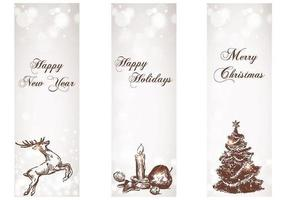 Snowy Holiday Banner Vektor Pack