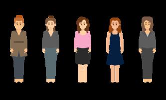 Satz der Geschäftsfraustellung. vektor