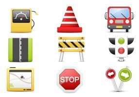 3D Traffic Vektor Icon Pack